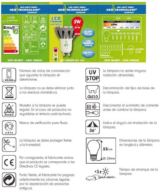Informacion envase LED NEW-TECHNOLOGY