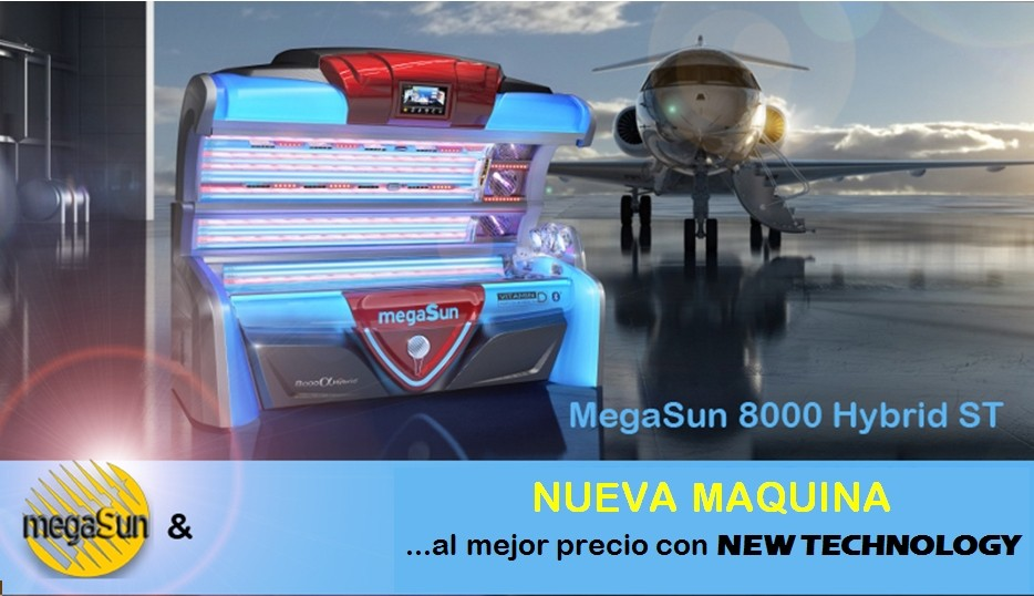 Maquina tubos UVA Megasun 8000 Hybrid by New-Technology